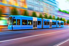 Modern tram on city street in Stockholm, Sweden Stock Photos