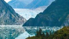 Moving Telephoto View of Sawyer Glacier in Tracy Arm Fjord Alaska Stock Footage