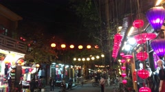 Colorful lanterns at night Stock Footage