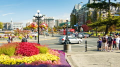 Victoria BC Popular Street Intersection at the Inner Harbour Stock Footage