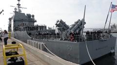 CORONADO CALIFORNIA USA, JANUARY 2016, Close Up US Navy USS Mobile Bay Harbour Stock Footage