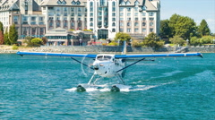 Sightseeing Seaplane Front Closeup in Victoria BC Inner Harbour Stock Footage