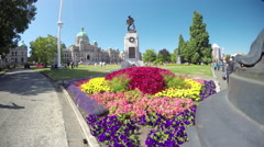 Victoria BC Front Gardens at the Parliament Buildings Stock Footage