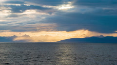 Sunset Cruising At Sea Along the Coast from Canada to Alaska - stock footage