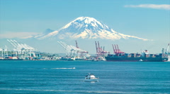 Seattle Cargo Seaport with Mount Ranier Tacoma Tahoma Backdrop - stock footage