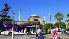 Stock Video Footage of Double decker tourist bus in front of Hagia Sophia
