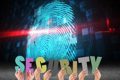 Hands holding security letter on fingerprint background Stock Photos