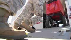 LOUISIANA USA, JANUARY 2016, US Soldiers Unload Power Generator Stock Footage