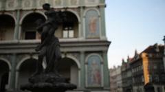 Proserpine Fountain in Poznan, Poland Stock Footage