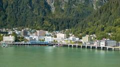 Downtown Juneau Alaska City at Base of Mount Juneau Stock Footage