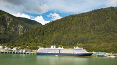 Holland America Line Cruise Ship Docked in Juneau Alaska Stock Footage