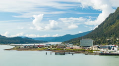 City of Juneau Alaska on the Gastineau Channel in the Alaskan Panhandle Stock Footage