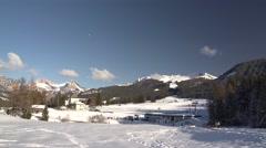 Alpes Peak Moon to Ski Piste Tracking 4K - stock footage