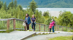 Tourists Visiting Mendenhall Glacier Visitor Center Stock Footage
