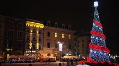 Christmas Tree on main square of Krakow, Poland Stock Footage