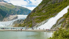 Mendenhall Glacier and Nugget Falls Epic Alaskan Nature Landscape Stock Footage