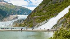 Mendenhall Glacier and Nugget Falls Epic Alaskan Nature Landscape Stock Footage