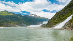Mendenhall Glacier and Nugget Falls Wide Panning Shot Stock Footage