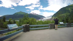 Visitors Overlook at Mendenhall Glacier Stock Footage