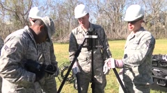 LOUISIANA USA, JANUARY 2016, US Air Force Soldiers Check Communication Equipment Stock Footage