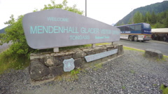 Sign at Mendenhall Glacier Visitor Center Entrance Stock Footage