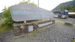 Sign at Mendenhall Glacier Visitor Center Entrance - stock footage