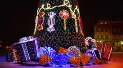 Christmas tree near Castle Square, Warsaw, Poland - stock footage