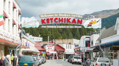 Ketchikan Alaska Entrance Welcome Street Sign - stock footage