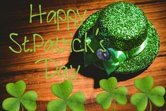 Picture for st patricks day with shamrock - stock illustration