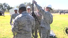 LOUISIANA USA, JANUARY 2016, US Air Force Soldiers Install Communication - stock footage