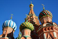 Saint Basil Cathedral and Vasilevsky Descent of Red Square in Moscow, Russia - stock photo