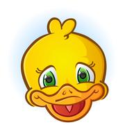 Yellow Rubber Duck Face Cartoon - stock illustration