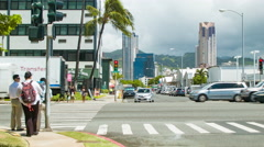 Ala Moana Blvd Honolulu Hawaii Intersection People and Traffic Stock Footage