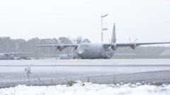RAMSTEIN GERMANY, JANUARY 2016, Ramstein Airbase Germany Aircrafts Winter Time Stock Footage