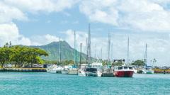Honolulu Hawaii Sailboats and Yachts with Diamond Head Background Stock Footage