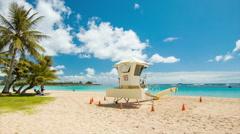 Lifeguard Station on Tropical Honolulu Beach in Hawaii Stock Footage
