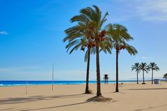 Cullera Sant Antoni beach San Antonio in Valencia Stock Photos