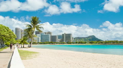Honolulu Hawaii Beachfront on an Idyllic Day with Perfect Weather Stock Footage