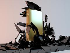 Solid golden Block Breaking Through From dark floor. - stock illustration