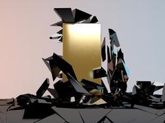 Solid golden Block Breaking Through From dark floor. Stock Illustration