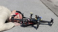 Drone quadcopter accident scene in city, Intro 2 PD13 Stock Footage