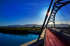 Cullera bridge over Xuquer Jucar river of Valencia - stock photo
