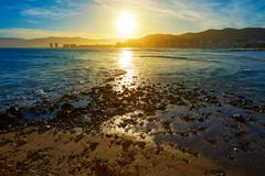 Cullera Playa los Olivos beach sunset in Valencia Stock Photos
