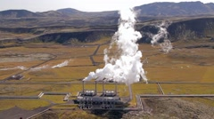 clouds of steam are rising over geothermal power station, Iceland - stock footage