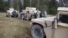 BOEBLINGEN GERMANY, JANUARY 2016, US Soldier Delegate Vehicle In Position Stock Footage