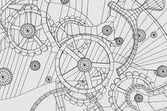 Abstract industrial, technology background. Gears outlines - stock illustration