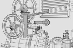 Abstract industrial, technology background. Gears outlines Stock Illustration