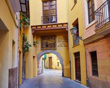 Valencia Portal de Valldigna arch barrio del Carmen Stock Photos