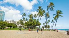 Volleyball on Waikiki Beach in Honolulu Hawaii - stock footage