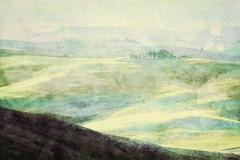 Painting of Tuscany landscape at sunrise. Tuscan green hills. - stock illustration